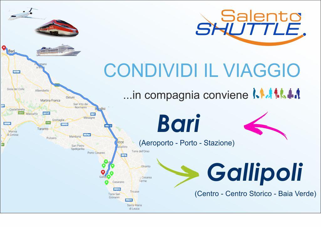 percorso navetta da Bari Aeroporto a Gallipoli